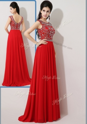 Beautiful Empire Bateau Brush Train Prom Dresses with Beading
