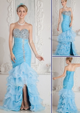 Beautiful Mermaid Sweetheart Beading and Ruffled Layers Aqua Blue Prom Dresses