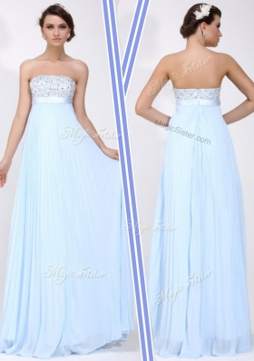 Beautiful Strapless Beading Long Prom Dress in Light Blue