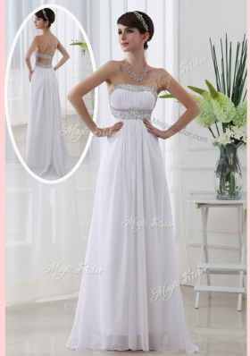 Beautiful Strapless Brush Train Beading Prom Dress in White