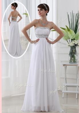 Beautiful Strapless Brush Train Beading Prom Dress in White