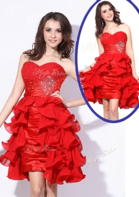 Beautiful Sweetheart Red Short Prom Dresses with Beading and Ruffles