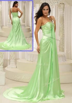 Elegant Column One Shoulder Beading Prom Dresses with Brush Train