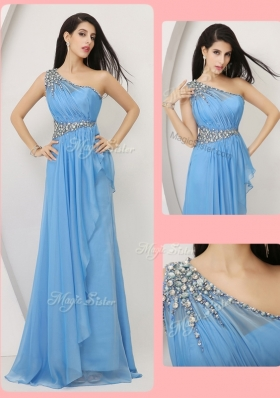 Elegant Empire One Shoulder Prom Dresses with Beading and Ruching