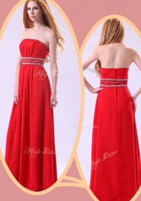 Elegant Empire Strapless Red Prom Dresses with Beading