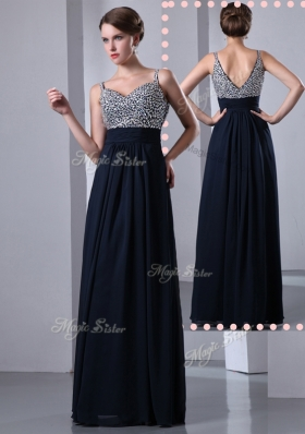 Elegant Empire Straps Side Zipper Beading Prom Dresses in Black