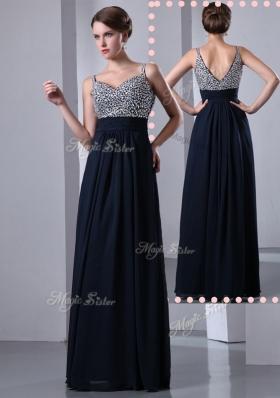 Elegant Empire Straps Side Zipper Beading Prom Dresses in Black