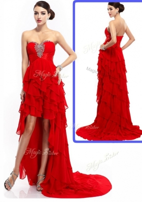 Elegant  High Low Ruffled Layers Prom Dresses with Beading