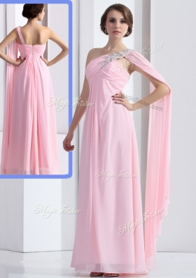Elegant One Shoulder Baby Pink Prom Dress with Ruching and Beading