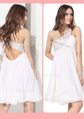 Elegant Short One Shoulder Beading Prom Dress in White