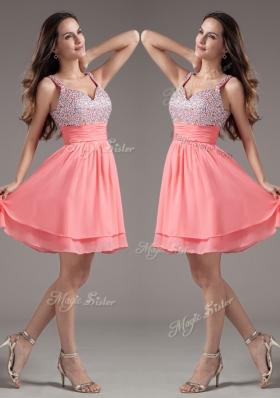 Elegant Straps Beading Short Watermelon Prom Dresses