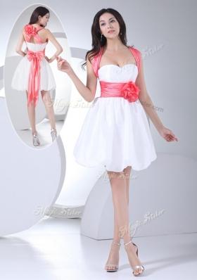 Elegant  Straps Hand Made Flowers Short Prom Dress in White
