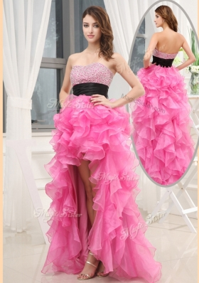 Elegant  Sweetheart High-low Pink Prom Dresses with Beading and Belt