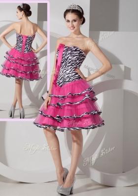 Elegant  Sweetheart Leopard and Ruffled Layers Prom Dresses