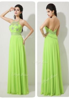 Lovely Halter Top Beading Prom Dresses for 2016