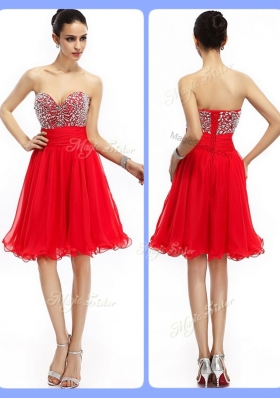 Lovely Short Sweetheart Beading Prom Dresses in Red