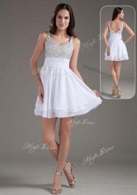 Perfect Short Straps Beading White Prom Dresses for 2016