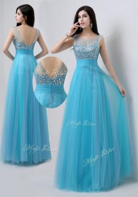 Pretty Scoop Empire Beading Bridesmaid Dresses In Baby Blue