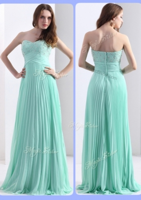 2016 Lovely Beading and Sequins Apple Green Prom Dresses with Brush Train