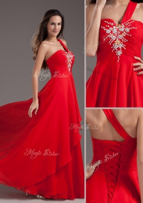 Lovely Empire One Shoulder Red Prom Dress with Beading