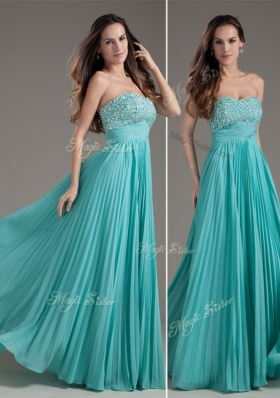 Lovely Empire Strapless Turquoise Long Prom Dress