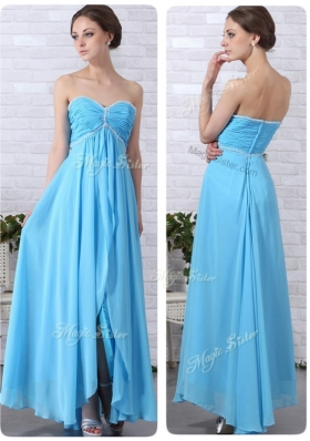 Lovely Empire Sweetheart Slit Prom Dresses in Aqua Blue