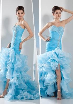 Lovely Mermaid Sweetheart Ruffled Layers Prom Dress in Aqua Blue