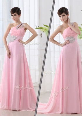 Lovely One Shoulder Brush Train Beading Baby Pink Prom Dress