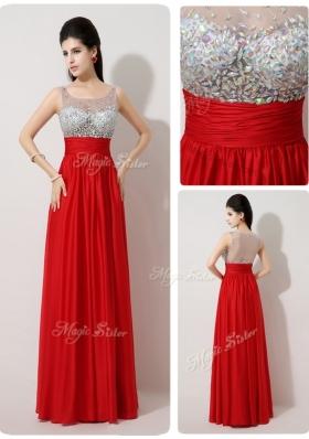 Lovely Scoop Empire Beading Red Prom Dresses