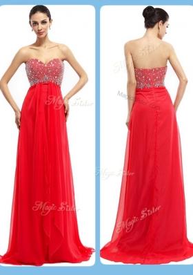 Lovely Sweetheart Brush Train Beading Prom Dresses in Red