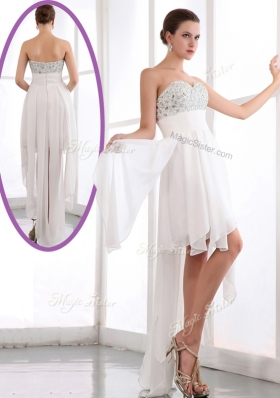 Lovely  Sweetheart High Low Beading Prom Dress in White