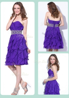 Lovely Sweetheart Knee Length Prom Dresses with Ruffles