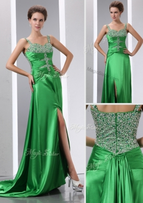Sexy Column Beading and High Slit Prom Dresses with Court Train