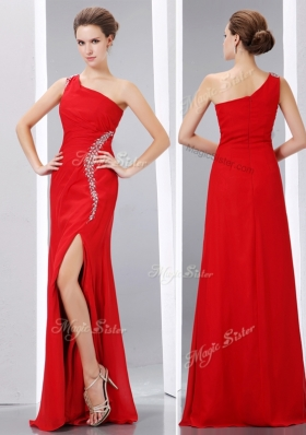 Sexy Column One Shoulder Prom Dress with High Slit