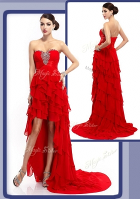 Sexy High Low Beading and Ruffled Layers Prom Dresses in Red