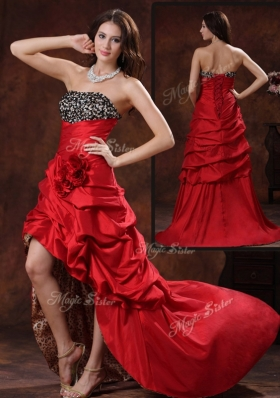 Sexy High Low Strapless Prom Dress With Hand Made Flowers