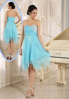 2016 Cheap Asymmetrical Sweetheart Beading Short Prom Dresses