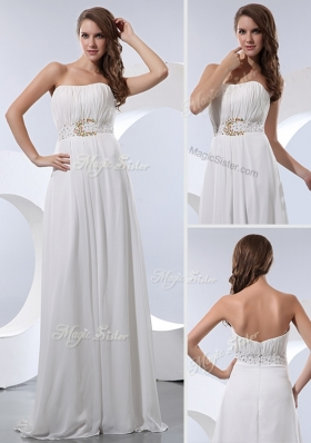2016 Discount Empire Strapless Beading Prom Dresses in White