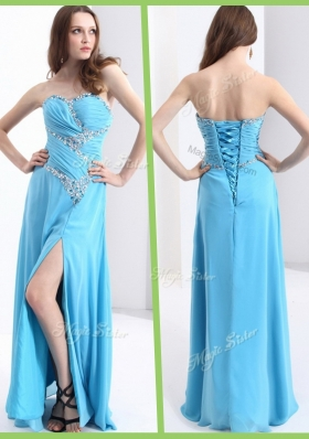 2016 Fashionable Sweetheart Prom Dresses with Beading and High Slit