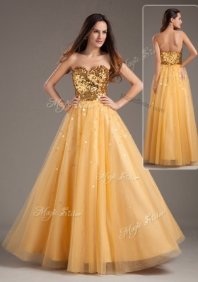2016 Luxurious Princess Sweetheart Sequins Long Prom Dresses in Gold