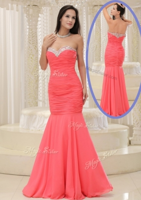 2016 New Style Mermaid Sweetheart Coral Red Prom Dress