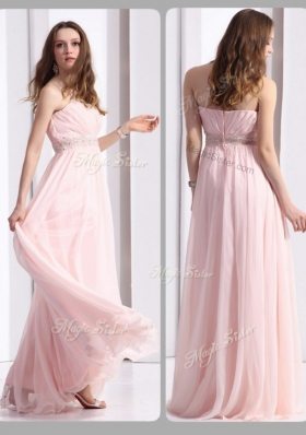 2016 Simple Strapless Beading Long Prom Dresses in Baby Pink