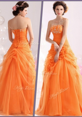 Hot Sale Strapless Beading Prom Dresses with Hand Made Flowers