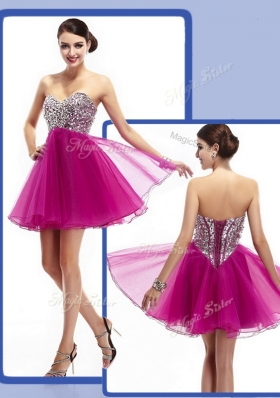 Perfect Sweetheart Fuchsia Short Prom Dresses with Beading
