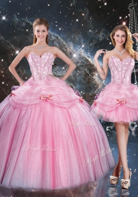 2016 Detachable Ball Gown Sweetheart Beading Pink Quinceanera Gowns