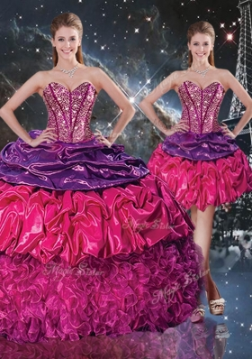 2016 Gorgeous Ball Gown Sweetheart Detachable Quinceanera Gowns with Ruffles