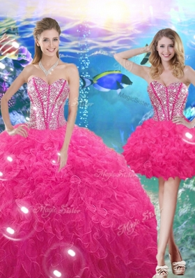 2016 Pretty Ball Gown Sweetheart Detachable Quinceanera Gowns with Beading