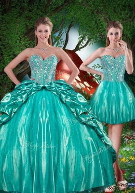 2016 Summer Pretty Sweetheart Beading Detachable Quinceanera Gowns