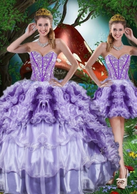 Luxurious Ball Gown Beading and Ruffles Detachable Quinceanera Gowns for 2016