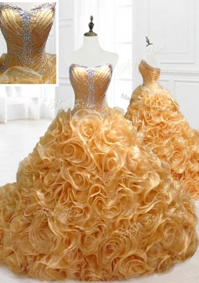 Elegant Sweetheart Rolling Flowers Brush Train Quinceanera Dresses with Beading